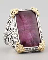 Konstantino | Metallic Rectangle Silver 18k Gold Rubyquartz Ring | Lyst