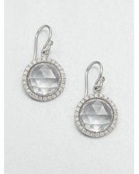 Mija | White Sapphire Mini Button Drop Earrings | Lyst