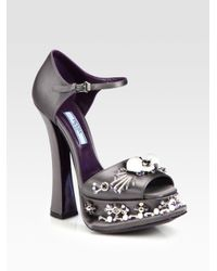 7e5087114912 Lyst - Prada Beaded Satin Ankle Strap Platform Sandals in Black