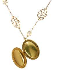 Sam Ubhi - Metallic Locket Leaf Chain Necklace - Lyst