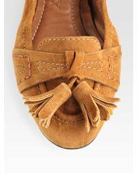 Burberry - Brown Suede Tassel Ballet Flats - Lyst