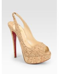Christian Louboutin | Natural Lady Cork Peep Toe Slingback Platform Pumps | Lyst