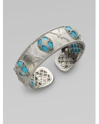 Jude Frances | Blue Diamond Turquoise Sterling Silver Lattice Bracelet | Lyst