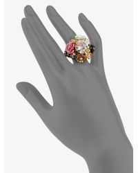 Juicy Couture | Metallic Stone Flower Cluster Ring | Lyst