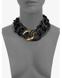 Kara Ross - Black Twotone Chain Link Necklace - Lyst