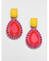 kate spade new york - Red Faceted Teardrop Earrings pink Yellow - Lyst