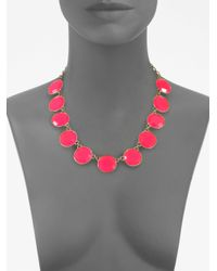 kate spade new york - Pink Faceted Stone Necklace - Lyst