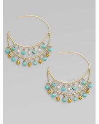 Padma - Green Turquoise Cultured Pearl and 14k Yellow Gold Hoop Earrings1frac12 - Lyst