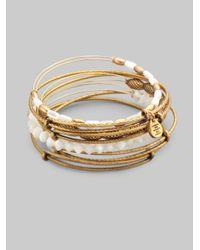 ALEX AND ANI - Metallic Motherofpearl Bangle Bracelet Set - Lyst