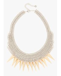 Bebe - Metallic Mesh Spike Statement Necklace - Lyst
