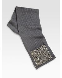 Burberry - Gray Jewel Embellished Knit Scarf - Lyst