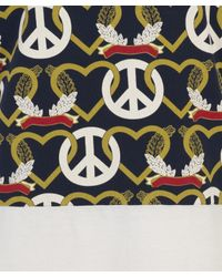 Christopher Shannon - White Navy Peace Heart Print T Shirt for Men - Lyst
