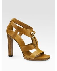 35ad9e2ec3349 Lyst - Gucci Marrakech Platform Sandals in Brown