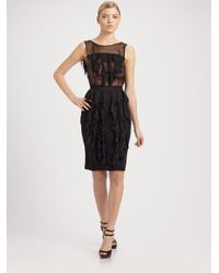 Jason Wu | Black Ruffle Chiffon Sheath Dress | Lyst
