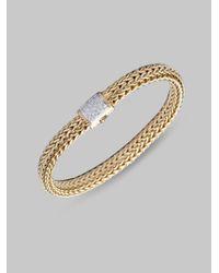 John Hardy | Metallic Diamond & 18k Gold Medium Chain Bracelet | Lyst