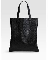 Comme des Garçons | Black Small Star Embossed Leather Tote | Lyst