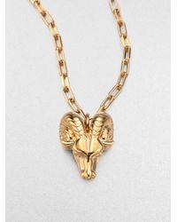 Tory Burch - Metallic 16k Goldplated Ram Head Pendant Necklace - Lyst