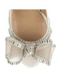 Valentino Natural Bowembellished Satin Sandals