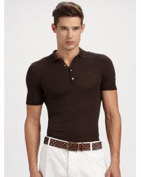 Dolce & Gabbana | Brown Henley Polo for Men | Lyst