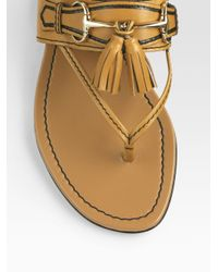 Gucci | Natural Emily Leather Tassel Thong Sandals | Lyst