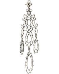Laurent Gandini Metallic Marie Antoinette Sterling Silver Lace Earrings