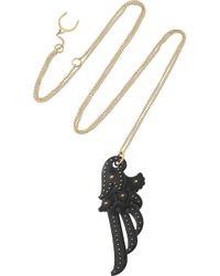 Philip Crangi - Metallic Wing 14karat Gold and Blackened Steel Necklace - Lyst