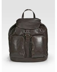 ac0ff6f96111 Prada Glace Leather Backpack in Brown for Men - Lyst