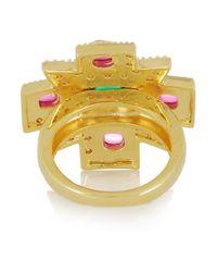 Kenneth Jay Lane - Green Maltese Cross Goldplated Cubic Zirconia Ring - Lyst
