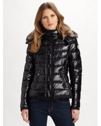 c6481989a Lyst - Moncler Armoise Fur-trimmed Puffer Jacket in Black