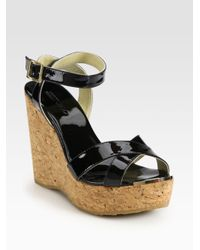Jimmy Choo | Black Papyrus Patent Leather And Cork Wedge Sandals | Lyst