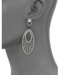 Kenneth Jay Lane - Gray Sparkle Oval Drop Earrings - Lyst