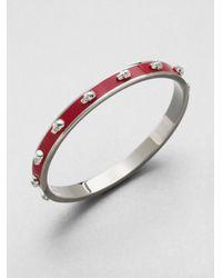 Alexander McQueen | Red 3d Enamel Skull Small Bangle Bracelet/silvertone | Lyst