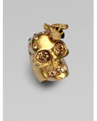 Alexander McQueen | Metallic Skull & Bee Ring | Lyst