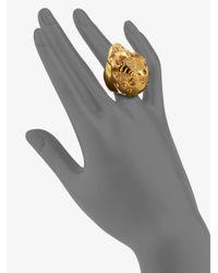 Alexander McQueen - Metallic Skull & Bee Ring - Lyst
