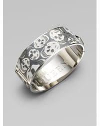 Alexander McQueen - White Medium Skull Cuff Bracelet - Lyst