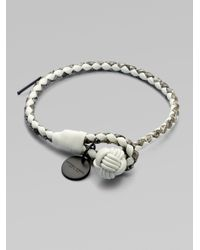 Bottega Veneta | Gray Intrecciato Mixed Leather Wrap Bracelet | Lyst