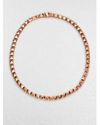 Eddie Borgo | Pink Rose Gold Pyramid Necklace | Lyst