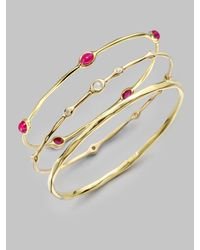Ippolita | Metallic 18k Gold Ruby Cabochon Bangle Bracelet | Lyst