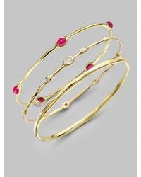 Ippolita - Metallic 18k Gold Ruby Cabochon Bangle Bracelet - Lyst