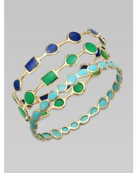 Ippolita - Metallic Polished Rock Candy Turquoise & 18k Yellow Gold Bangle Bracelet - Lyst