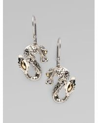 John Hardy | Metallic Naga 18k Yellow Gold & Sterling Silver Dragon Drop Earrings | Lyst