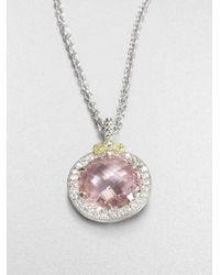 Judith Ripka - White Sapphire Pink Crystal Pendant Necklace - Lyst
