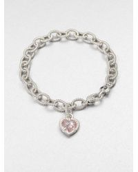 Judith Ripka | Metallic Fontaine Pink Crystal & Sterling Silver Single Heart Charm Bracelet | Lyst
