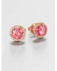 KALAN by Suzanne Kalan | Metallic Salmon Topaz, White Sapphire & 14k Rose Gold Round Stud Earrings | Lyst