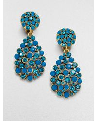 Oscar de la Renta | Blue Jeweled Drop Earrings | Lyst