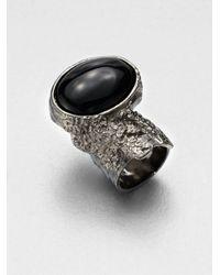 Saint Laurent | Metallic Arty Ovale Ring/Gunmetal | Lyst