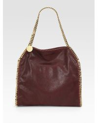 Stella McCartney | Metallic Bordeaux Vegan Suede 'Falabella' Chain Link Tote Bag | Lyst