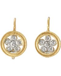 Cathy Waterman | Metallic Lacy Flower Drop Earrings | Lyst