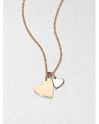 Jennifer Zeuner - Metallic Sterling Silver Double Heart Necklace - Lyst