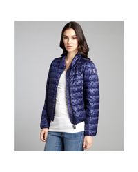 Moncler - Blue Midnight Polka Dotted Nylon Down Filled Coat - Lyst